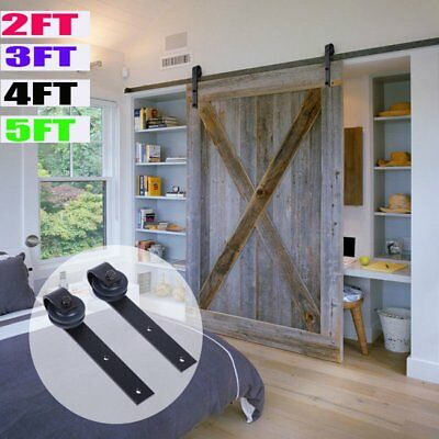 2FT/3FT/4FT/5FT Country Antique Steel Sliding Barn Wood Door Hardware Track Set