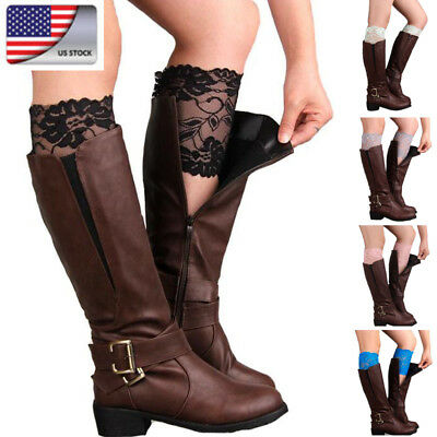 722cbebc8c9 US Womens Sock Lace Knit Leg Warmer Girls Floral Elastic Stockings Boot  Trim New