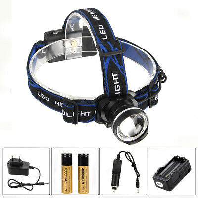Zoom 5000LM Rechargeable T6 LED Head Torch Light Headlight Headlamp+2x18650+USB