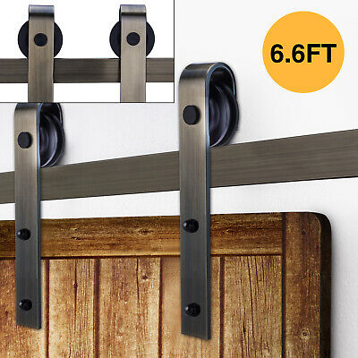 6.6FT Sliding Barn Door Hardware Roller Track Rail Kit Closet Classic Shape