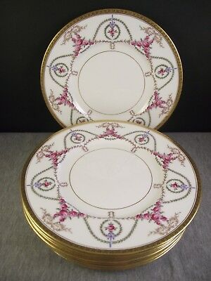 """8 Mintons 9"""" Luncheon Plates #H2924 Gilman Collamore New York Gold Roses Laurel"""
