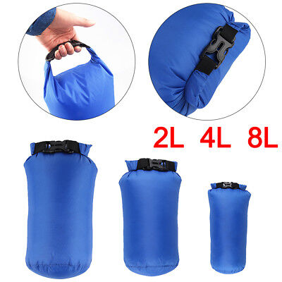 3 Pack Camping Dry Sacks Waterproof Weather Resistant Kayak Hiking Bag 2/4/8L UK