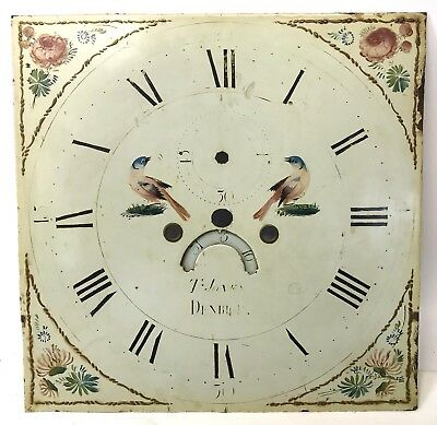 "Square Long Case Grandfather Clock Dial Birds 13.25"" By 13.25"" T Jones Denbigh"