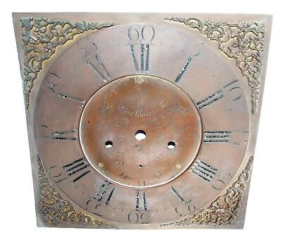 Early Brass Dial For Longcase Grandfather Clock Samuel Lomax Blackburn