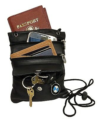 Passport Neck Strap Lanyard Leather ID Holder Pouch Travel String Purse Black