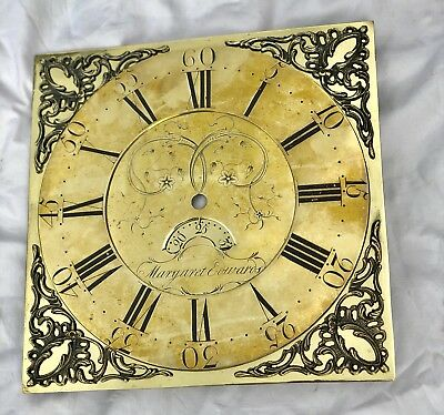 "Antique Early Brass Grandfather Longcase Clock Dial MARGARET EDWARDS 12 "" x 12 """