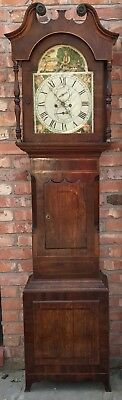 Antique Longcase Grandfather Clock 8 Day Farming Scene Arched Dial Inlaid