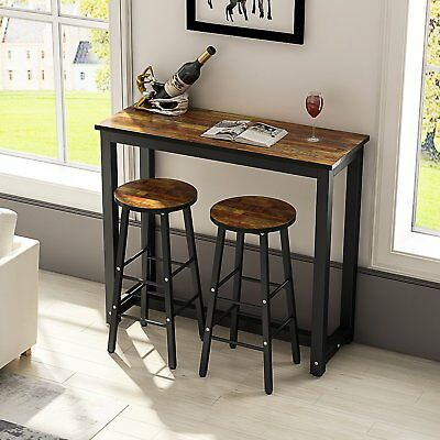 Industrial Metal & Wood Bar Stool Vintage Kitchen Dining Table Cafe Counter Set