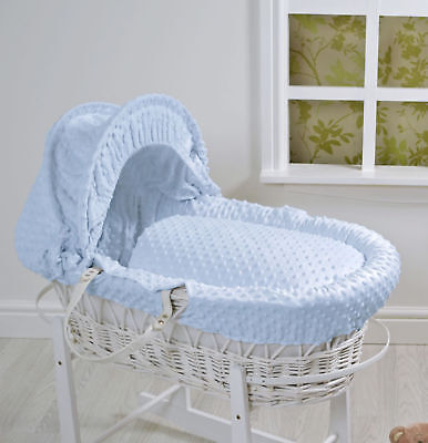 4Baby White Wicker Moses Basket and Rocking Stand, Blue Dimple Bedding.