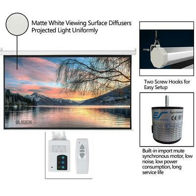 """92"""" 16:9 HD Auto Motorized Projector Screen Projection 80""""x45"""" Remote Control"""