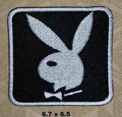 db79831af7fa Playboy Bunny Logo Black   White Iron  Sew-on Embroidered Patch   T Shirt