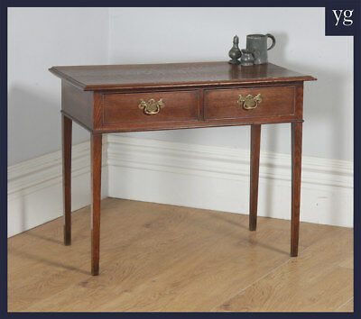 Antique English Georgian Oak Occasional Hall Writing Lowboy Side Lamp Table