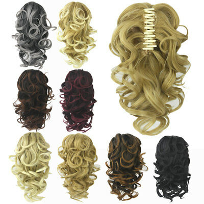 Claw Thick Wavy Wig Curly Long Layered Ponytail Wig Clip On Hair Extension