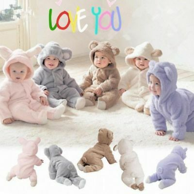 UK Newborn Infant Boy Girl Baby Romper Hooded Jumpsuit Bodysuit Outfits Clothes