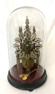 Antique Victorian Brass Fusee Skeleton Clock  with Glass Dome