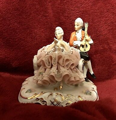 Antique Dresden Volkstedt Ackermann & Fritze Porcelain Couple Sitting on Couch