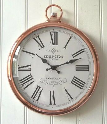 Large 42cm Round Copper Roman Numeral Pocket Watch Kensington Station Wall Clock