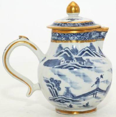 ALMOST PERFECT GILDED CHINESE BLUE & WHITE SPARROW BEAK JUG & LID c1760's