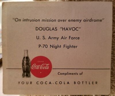 1940's WWII Douglas Havoc U.S. Army Air Force P-70 Nighthawk Fighter COCA-COLA