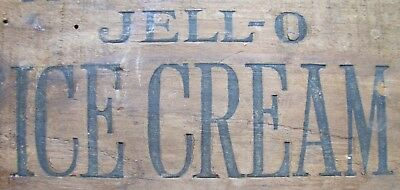Old JELL-O ICE CREAM Wood Crate Box Panel Advertising Sign Genesee Food Leroy NY