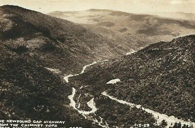 CD-335 NC, Newfound Gap Highway Aerial View RPPC Real Photo Postcard DOPS Paper