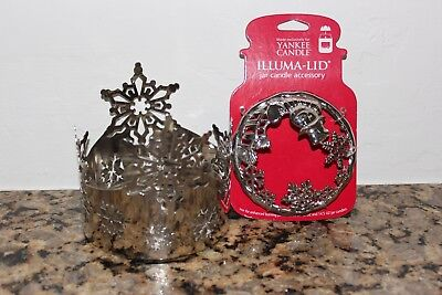 Yankee Candle Snowflake Jar Candle Holder & Snowman w/scarf Topper~Winter