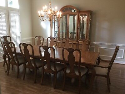 BERNHARDT DINING ROOM table with 10 chairs and lighted china ...