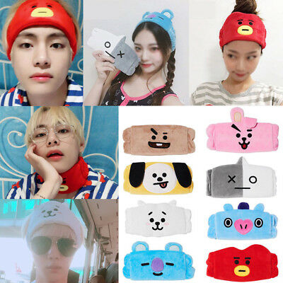 Kpop BTS BT21 SPA Elastic Animal Headband Cooky Chimmy Tata Hairbands Eye Mask