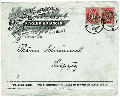 1903 Norway Advertising Cover to Leipzig Germany - Super Piano Music Cover
