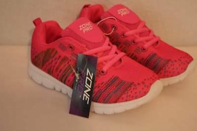 NEW Girls Tennis Shoes Size 1 Pink Lace Up Sneakers Athletic School Gym Walk Run