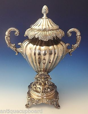 English Silverplate Hot Water Urn with Leaf and Scrollwork Motif (#0204)