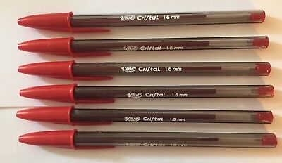 Lot of 6 RED Bic Cristal Ballpoint Pens 1.6mm, Xtra-Bold