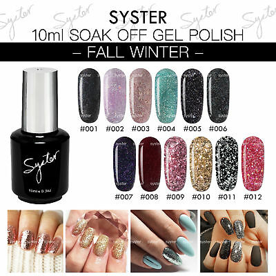 Syster 12 Colours 10ml F/W Glitter Collection Soak Off UV LED Gel Polish