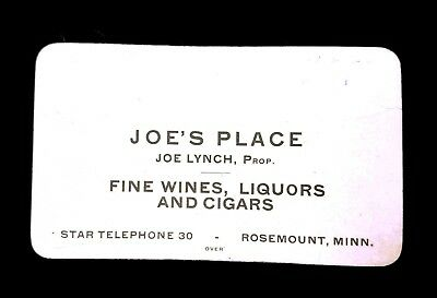 Vintage EARLY Joe Lynch's Saloon Rosemont Minnesota Trade Card Railroad Pass