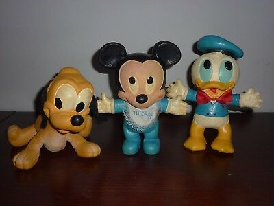 Vintage 1980s Disney Foam Bendy Figures Mickey Mouse Donald Duck Pluto