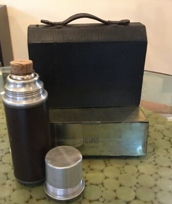 Vintage Lunchbox Thermos brand Complete Set with Cork Top thermos & Brass Box