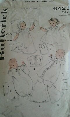 Vintage Butterick #6425 Baby Layette Pattern 50s/60s  Long Dress Sacque Cap
