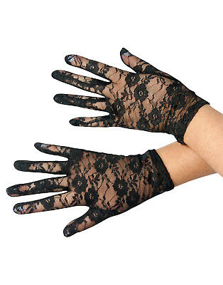 Lace See Through Black Adult White Costume Accessory Gloves