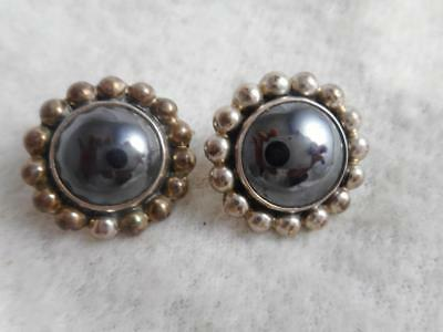 CII Mexico 925 sterling hematite cabochon & beaded frame round pierced earrings