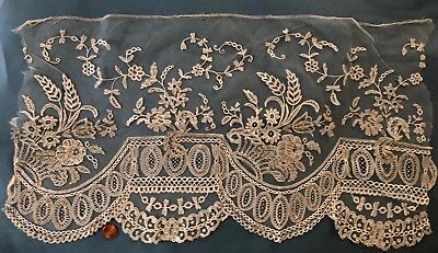 Fragment of deep border of 19th C Brussels Applique lace COLLECTOR CRAFT