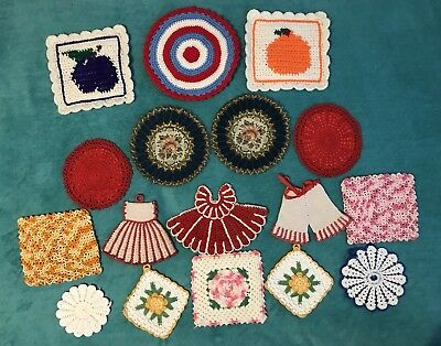 Vintage Lot 20 Hand Crocheted/Knitted Pot Holders Flower-Dress-Square Shaped