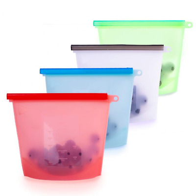 1500ml4 Reusable Silicone Food Storage Bags Grade Vegetable Bag Versatile NEW US