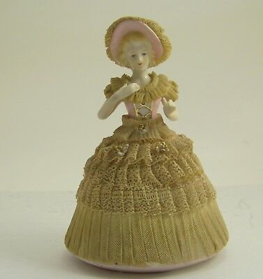 Vintage Post War Japan Porcelain Rococo Lady Figurine with Stiffened Lace Dress