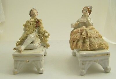 Vintage Post War Germany Porcelain Rococo Figurines with Stiffened Lace