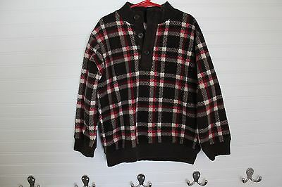 Boys GYMBOREE S 5-6 fleece Red Black plaid shirt soft top pullover Sweater