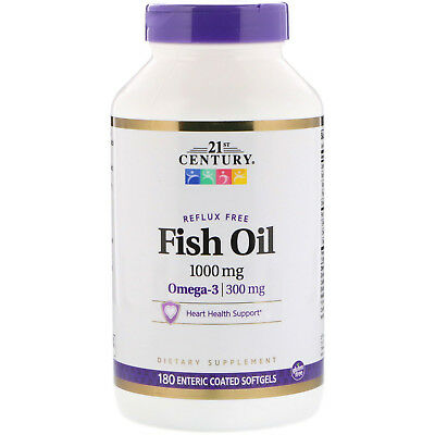 21st Century  Fish Oil  1000 mg  180 Enteric Coated Softgels
