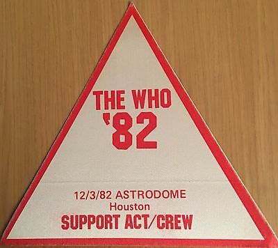 Pase De Tela - Ticket - Entrada De Concierto - The Who 12/3/82 Houston