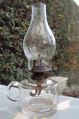 Victorian Facet Cut Glass Portable Oil Lamp With Glass Chimney.