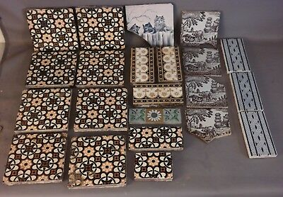 Lot (22) Antique MINTON Stoke on Trent PORCELAIN TILES Old ARCHITECTURAL SALVAGE