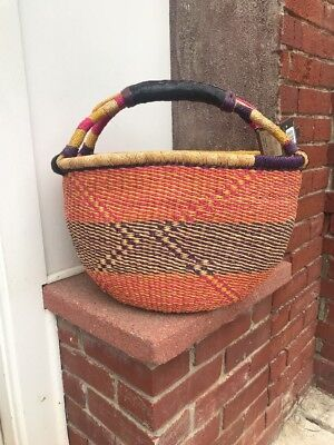 large Handmade colorful Ghana BOLGA Market Basket w/ Leather Handle